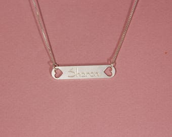 Silver bar necklace personalized bar necklace bar name necklace boho jewelry love jewelry sterling silver bar necklace personalized