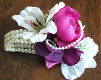 Purple and white, Wedding wrist corsage bracelet