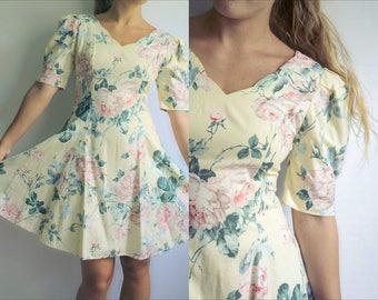 90s Yellow Floral Skater Skirt Mini Dress
