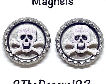 Halloween Skull Bottle Cap Magnets. Glittering Skull Charms with Extra Strong Magnets. Mag.Hol.101