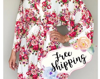 SALE! Set of 9 Robes, Bridesmaid robes, Bridesmaid Gifts, Cotton Floral Robe, Personalized Robe, Bridal Robe, Wedding Robe, Getting Ready