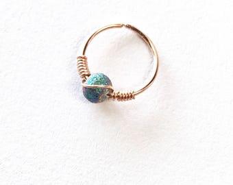 20g gauge cartilage earring, Rose gold small hoop earring, Gold helix hoop, 10mm wire wrapped hoop, Ear piercing jewelry 14k gold filled