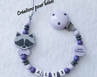 """Girl personalized 3D """"Raccoon raccoon"""" with wooden beads pacifier clip"""