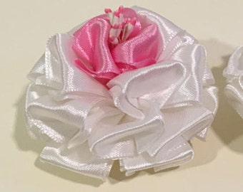 ichikraft Silk Pure White Satin Hair Clip (Handmade)