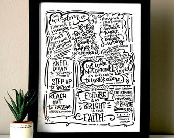 Inspiring  Hand lettered quotes by  Thomas S. Monson, instant download to print and frame.