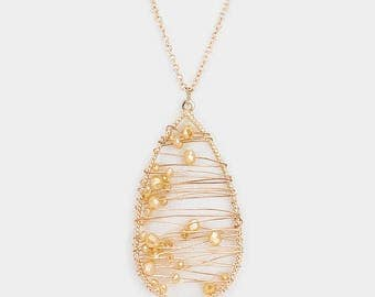 Beaded Wire Wrapped Teardrop Pendant Necklace