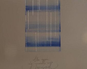Original Watercolor Painting, Minimal, Abstract , Zen Art, Blue, Ultramarin No.3
