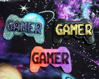 Pixel Gamer Controller Pin Brooch - Glitter, Neon OR Black - You Choose!