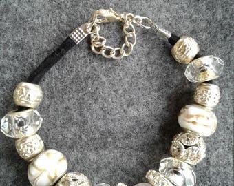 White Ribbon Lampwork Beads, 7.5in