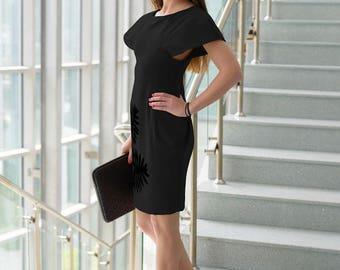 Business Dress, Avant Garde Dress, Hand Made Clothing, Black Dress, Elegant Dress, Short Sleeve Dress, Shift Dress, Chic Dress
