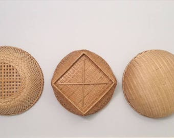 Set of Vintage Wicker Baskets, Vintage Rattan Baskets, Boho Baskets, Basket Wall Set, Retro Baskets