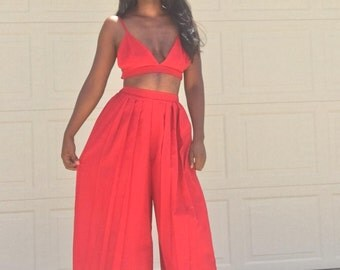 Wide leg pleated pants and Bralette set