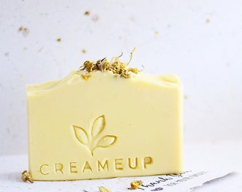 Chamomile Luxury Soap, Palm Oil Free, Shea Cocoa Butter, Natural, All skin Types, Energizing Plantv Based Bar Soap, Made in Sweden