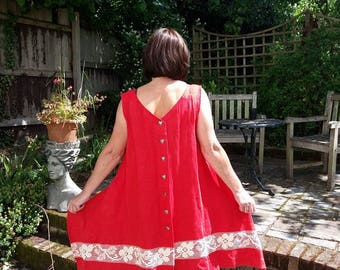 Red linen dress with lace accent.