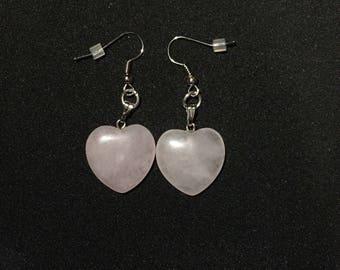 Genuine Pink Quartz Heart Earrings