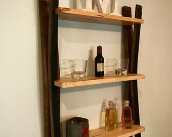 Bourbon Barrel Stave Wall Shelf Handmade with Ambrosia Maple