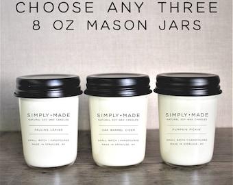 Soy Candles Bundle Deal // Choose Any Three // 8 oz Mason Jar Candles // Scented Candles // Modern Farmhouse Decor