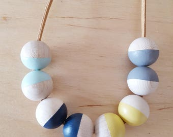 Blue necklace, mustard necklace, Mothers day, Geometric necklace, gift for her, wooden necklace, gift for mum, wood bead, girlfriend gift,