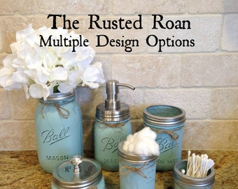 6 Piece Mason Jar Bathroom Set, Mason Jar Soap Dispenser, Mason Jar Bathroom Set, Mason Jar Decor, Rustic Bathroom Decor, Farmhouse Decor