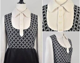 Vintage 1960s Mod Pan Collar Faux 2 Piece Vest Long Sleeve Dress Tartan Checker Bib Collar Black White Small