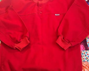 Vintage Red Guess Jeans Products Sweatshirt Pullover Canvas Long Sleeve Jumper 1980s