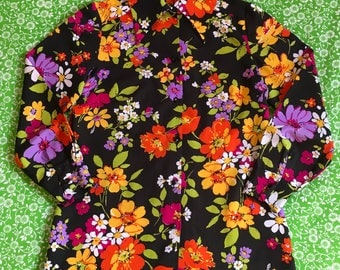Vintage Black Floral Psychedelic Bright Colorful Long Sleeve Shirt Pointy Dagger Collar Flower Power Blouse Top