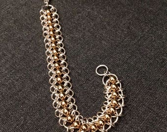 Sterling Silver and Gold-fill Captive Ball Chain Maille Bracelet