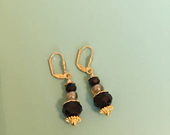 Dangle Earrings / Gold Earrings / Black Earrings / Drop Earrings / Women's Gift / Boho Earrings / Art Deco Earrings / Statement Earrings