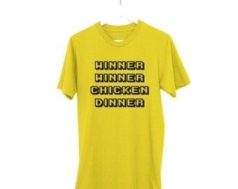 Winner Winner Chicken Dinner Shirt, Retro Gamer, Yellow Front or Back Print, PUBG, Battlegrounds, Novelty Gaming Shirt, Gaming Tops