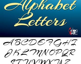 Elegant Cursive Alphabet SVG DXF Vector Cut Files Monogram Font Cuttable Letters Vinyl Iron On Heat Press Transfer Silhouette Cricut JB-787
