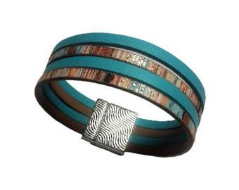 Multicolored blue leather bracelet