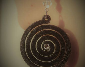 "Hand painted wood earrings ""spiral"""