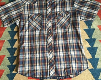 Vintage 1970's Men's Wrangler Plaid Western Shirt