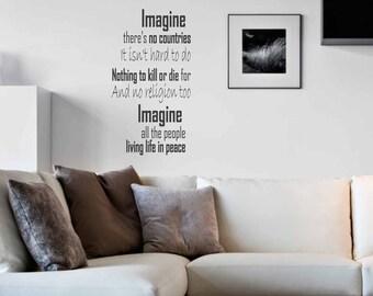 Imagine - John Lennon - Wall sticker, wall decor, wall art, door sticker, glass sticker, song sticker, wall decal, lyrics sticker, lyric