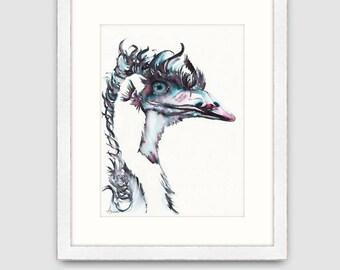 "Australian Emu print of original ink_watercolour painting, A5 mounted to fit  8""x10"", emu painting, australian bird art print, emu art"