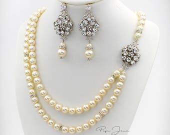 Wedding Necklace Bridal Earrings Swarovski Pearl Necklace Wedding Earrings Wedding Jewelry Bridal Jewelry Bridal Necklace Bride Macy