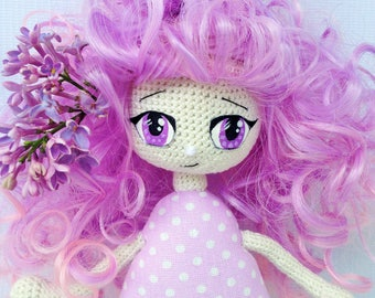 Interior doll, Anime, gift for girl, amigurumi, lilac textile crochet girl handmade