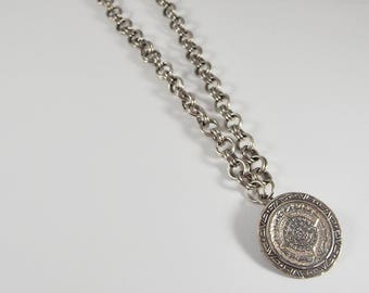 Sterling Silver Aztec/Mayan Calendar Pendant/Pin Necklace