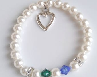 Bridal Bracelet with Couple's Birthstones