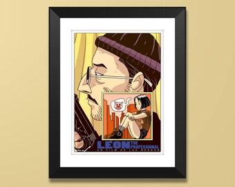 "Léon the professional Illustration, Movie Poster, Original Art, ""12x16"""
