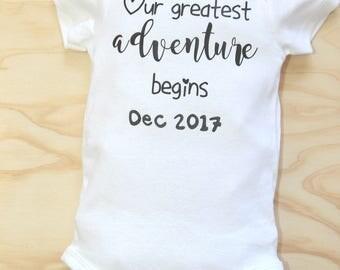 Our Greatest Adventure begins | Custom Baby Onesie| | Baby Announcement| Pregnancy Reveal| Baby Shower Gift| Hand Lettered Onesie| Bodysuits
