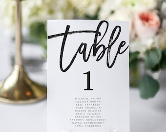 Modern Wedding Seating Chart Black and White Table Numbers Editable Table Numbers Template Seating chart Template Table Numbers Template