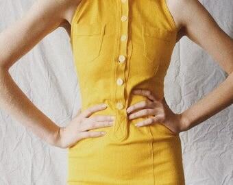 Yellow Button Up Mini Dress