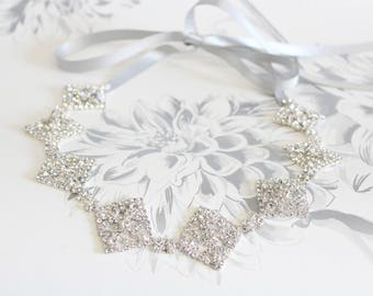 Silver Crystal bridal headband | Free Shipping Crystal wedding headpiece Gatsby headpiece Bridal Headpiece Wedding hair piece