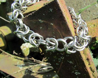 16 Gauge Stainless Steel Byzantine Weave Chainmaille,Steel Chainmaille Jewelry,Byzantine Steel Bracelet,Mens Stainless Steel Bracelet