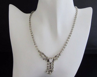 Vintage Costume Jewellery Necklace Bow Collar Design Claw Set Clear Stones Rhinestone Magic By La Rel Catwalk 1950s