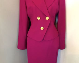 Christian Dior Magenta Jacket and Skirt Set