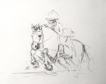 "Original Horse Artwork, ""Hunter Pony""/ Pen Equine Drawing"