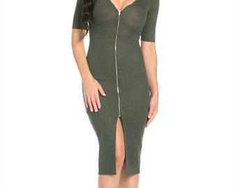 Long Zipper Front Center Dress
