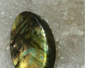 Green yellow Labradorite 20.58 Gr oval cabochon ready to drill